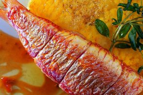 Stuffed Red Mullet with Saffron Risotto Croquettes