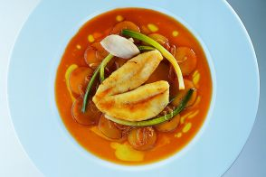 Baked John Dory with Pommes Boulangère and Bouillabaisse Jus