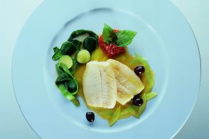 John Dory Fillet with Zucchini Shavings and Green Tomato Sauce