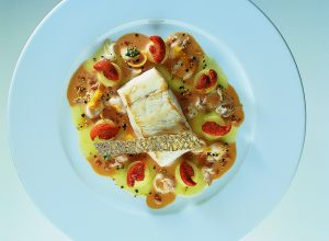 Sea Bass Fillet with Squid and Sea Urchin Sauce