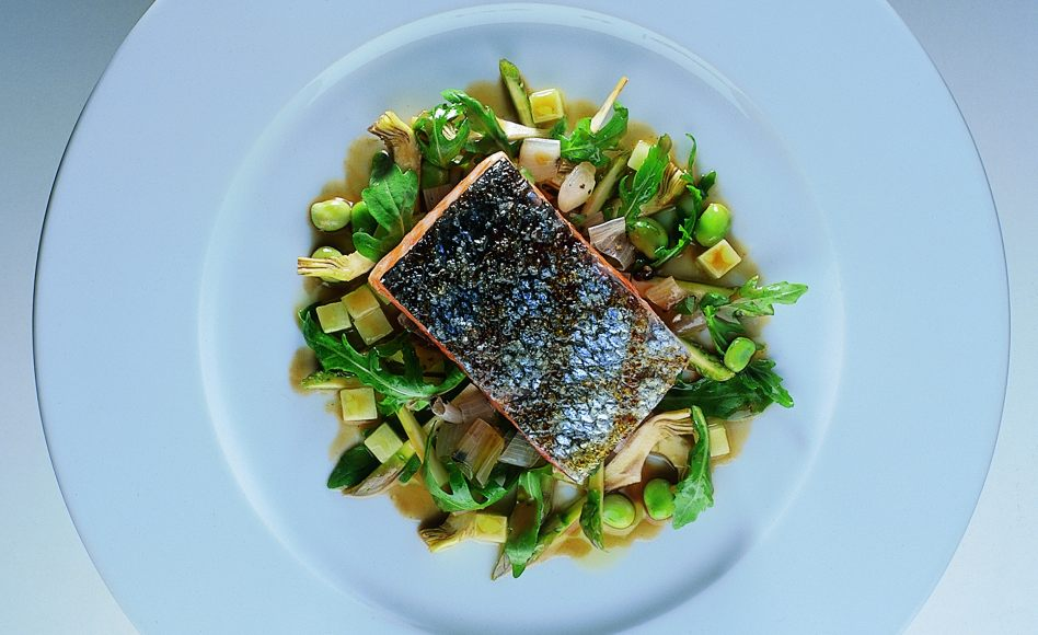 Wild Salmon in White Wine Sauce with Spring Vegetables