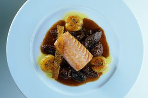 Slow-Cooked Salmon with Morel Mushrooms and Crash Potatoes