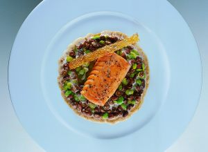 Baked Salmon with Creamy Mushrooms and Baby Broad Beans